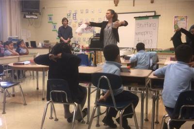 Erica demonstrating to Kindergarten